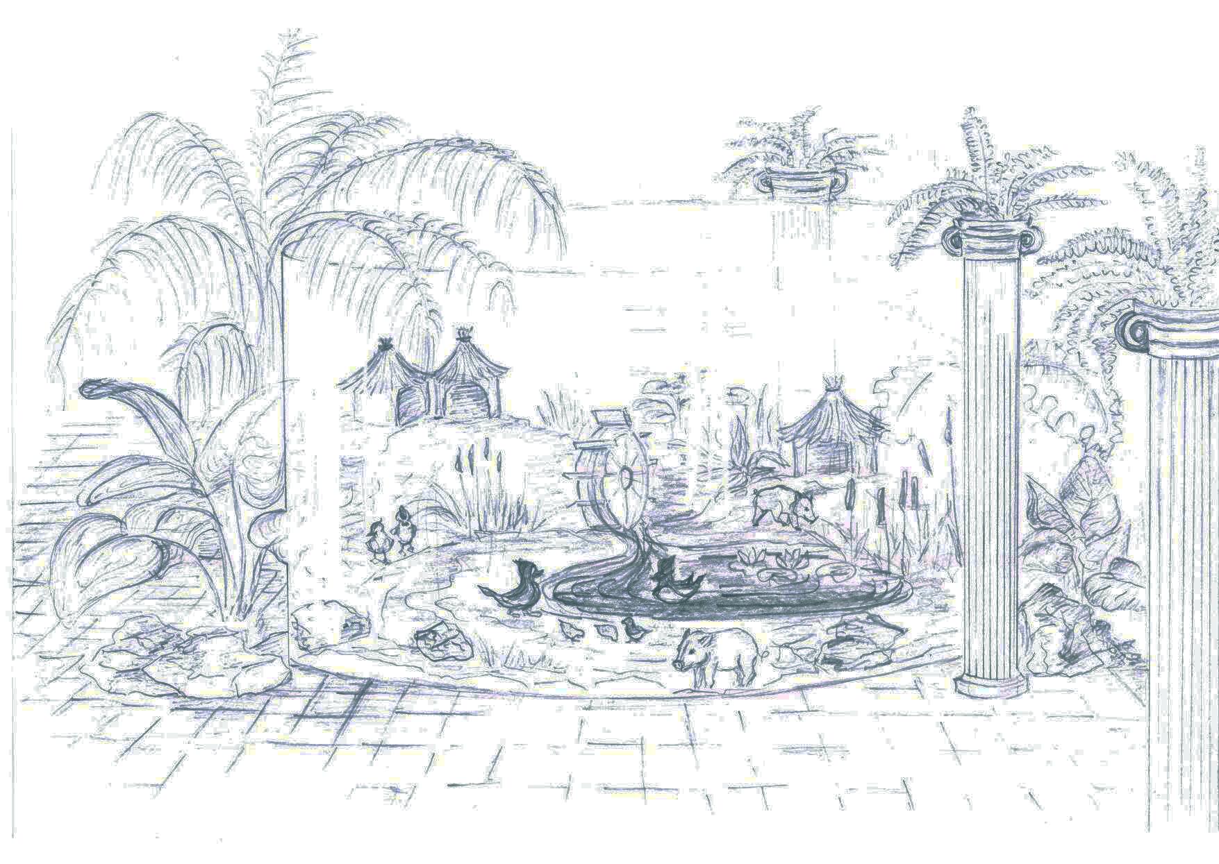 Эскиз мини зоопарка в холле